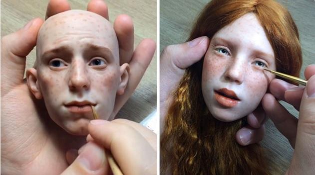 Artista ruso crea rostros de muñecas realistas que ponen la piel de gallina