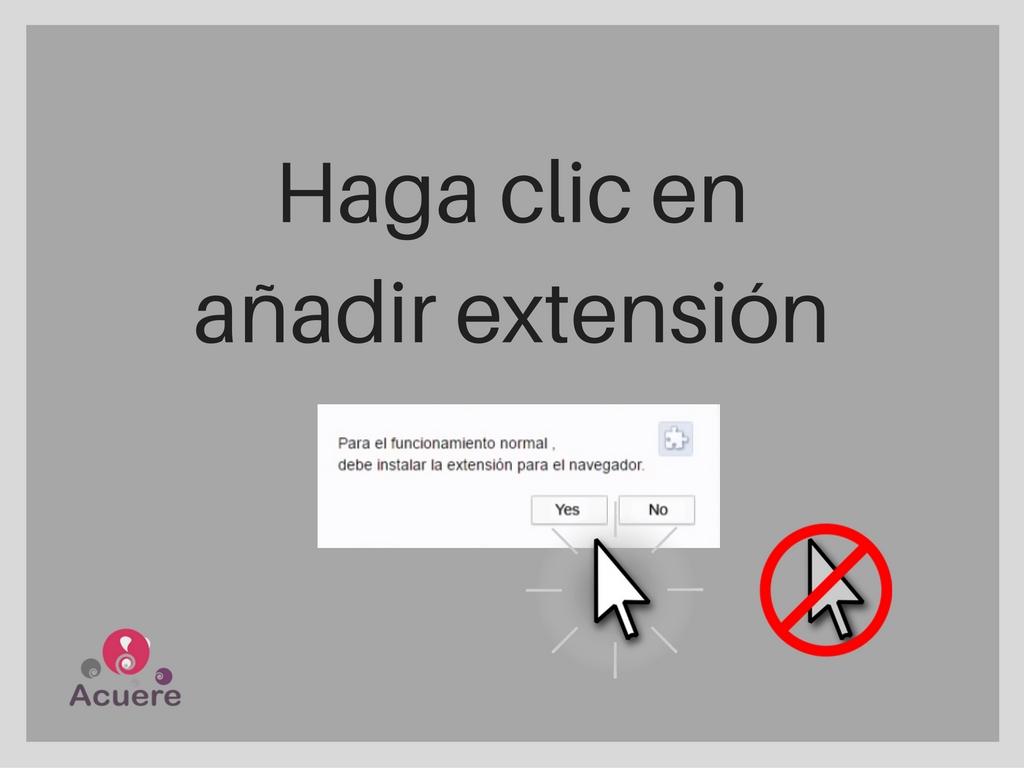 cerrar haga clic en añadir extension