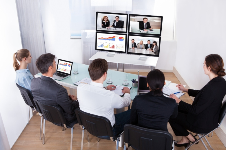 Group Of Businesspeople In Video Conference