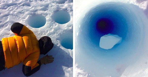 El increíble sonido de un hielo al caer en un agujero en la Antártida